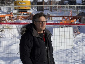 Wired Cup cafe co-owner Dave Jackson stands along 95 Avenue near 91 Street in Edmonton on Tuesday, Feb. 5, 2019. Jackson is concerned a full closure of 95 Avenue for LRT construction will hurt his Strathearn business.