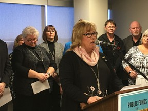 Public School Boards' Association of Alberta president Cathy Hogg speaks at a news conference on March 5, 2018.