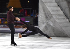 Professional skater Andy Buchanan, originally from Wabamun, rehearses with skating partner Adeline Canac for the upcoming Cirque du Soleil Crystal show at Rogers Place on Wednesday, Feb. 13, 2019.