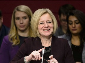 Rachel Notley, Premier of Alberta, arrives to appear as a witness at a Senate Committee on Energy, the Environment and Natural Resources in the Senate of Canada Building in Ottawa on Thursday, Feb. 28, 2019.