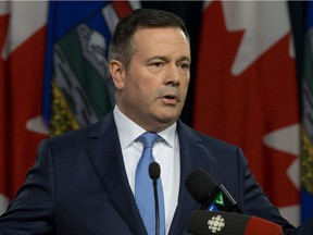 UCP Leader Jason Kenney speaks to the media as he responds to the speech from the throne at the Alberta legislature in Edmonton on Monday March 18, 2019. During the news conference Kenney denied any involvement in creating a kamikaze campaign during his 2017 leadership bid against Brian Jean.