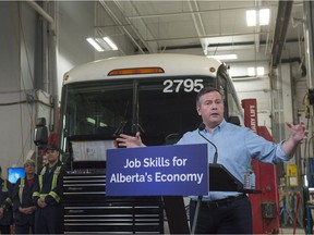 United Conservative Leader Jason Kenney provide details on the UCP plan to advance skills training on March 26, 2019, at the Diversified Transportation repair garage.   Photo by
