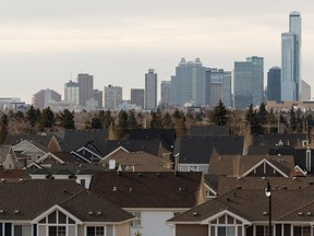 Homes and the downtown skyline is seen from the Griesbach neighbourhood in Edmonton on April 2, 2019.