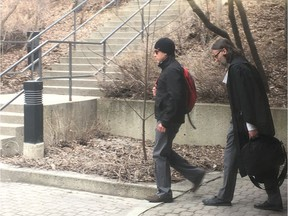 Jared Eliasson, left, and his lawyer, Zack Elias, leave the Edmonton Law Courts on Friday, April 12, 2019, after Eliasson was convicted of aggravated assault for a 2017 road-rage attack on a woman involving a crowbar. The judge stopped short of convicting on attempted murder, and Eliasson was allowed to remain out on bail until sentencing.
