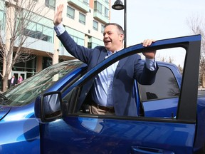 UCP Leader Jason Kenney greets supporters outside the Sheraton Eau Claire in Calgary on Tuesday, April 9, 2019.