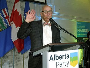 Alberta Party leader Stephen Mandel gives a speech in Edmonton after the polls closed for the provincial election in Alberta on Tuesday, April 16.