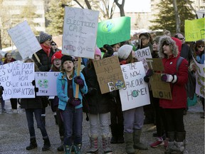 """Edmonton school students rallied at the Alberta legislature, joining thousands of students around the world who skipped school on Friday March 15, 2019 to protest inaction on climate change. The Skipping School Around The World To Push For Action On Climate Change had one of the largest turnouts so far in a months long movement that included the United States for the first time, in an event organizers call the """"U.S. Youth Climate Strike."""""""