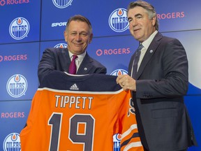 The Edmonton Oilers GM Ken Holland introduced Dave Tippett as the new head coach for the team on May 28, 2019 at Rogers Place. Photo by Shaughn Butts / Postmedia