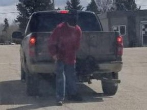 Stony Plain/Spruce Grove/Enoch RCMP released this image of a suspect and an 'older model' Chevrolet pickup following an attempted robbery of the Wabamun Hotel Bar in Wabamun, Alberta, on May 6, 2019. Supplied/RCMP
