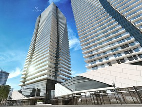 An artist's rendering of the exterior of Falcon One, by Langham Developments.