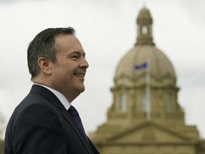 Alberta Premier-Designate Jason Kenney arrives outside the Alberta Legislature building in Edmonton on Wednesday April 17, 2019 for a news conference, the day after his United Conservative Party was elected to govern the province.