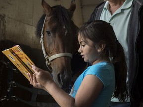 Hannah Silva Koch reads to Tenor a  five year-old gelding. Grade 1 and 2 students from Delwood School visited the Arabian Horse Reading Literacy Project in Ardrossan to participate in equine assisted learning on June 14, 2019.