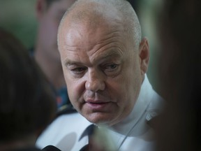 Police Chief Dale McFee takes media questions on June 20, 2019. Photo by Shaughn Butts / Postmedia