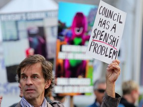 Hundreds of Calgary business owners including Darren Hamelin rallied outside city hall on Monday June 10, 2019, to protest huge hikes in business taxes.