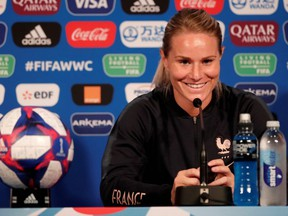 France's Amandine Henry during the press conference at the Parc des Princes in Paris, France on June 27, 2019.
