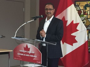 Amarjeet Sohi, Minister of Natural Resources and Member of Parliament for Edmonton Mill Woods announces two new pilot programs for foreign caregivers working in Canada at the Edmonton Mennonite Centre of Newcomers, 11713 82 St. N.W., on June 15, 2019.