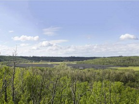A rendering of the proposed solar farm at the E.L. Smith water treatment centre. This view is looking west from a recreational trail across the river.
