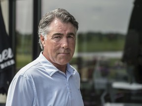 The Edmonton Oilers head coach Dave Tippett at the Quarry Golf Club for a charity tournament on July 31, 2019. Photo by Shaughn Butts / Postmedia