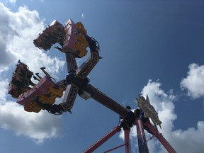Star Dancer, the newest ride on the midway at K-Days this year, will spin you around, turn you upside down, and likely knock your sandals off.