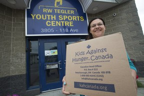Airdrie Koinonia Christian School's Kim Vanderwal at the Tegler Youth Centre, 3805 118 Ave., in Edmonton on Friday, Aug. 16, 2019 after the school donated 4,000 meals.