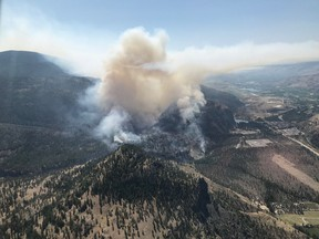 Eagle Bluff wildfire near Oliver has grown to 15 square kilometres.