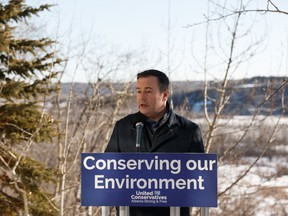 United Conservative Party leader Jason Kenney announces that his party, if elected, would support the creation of Big Island Provincial Park in the North Saskatchewan River Valley during a press conference in Edmonton, on Saturday, March 16, 2019.
