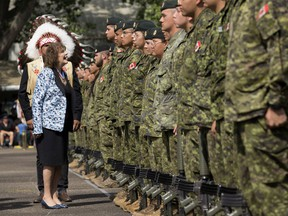 Lieutenant-Governor of Alberta Lois Mitchell reviews recruits from across Western and Northern Canada graduate from the Canadian Armed Forces' Bold Eagle program during a ceremony at 3rd Canadian Division Support Base Edmonton Detachment Wainwright, in Wainwright Thursday Aug. 15, 2019. Bold Eagle is a summer training and employment program for Indigenous youth living in western and northern Canada and northwestern Ontario, that combines military training and Aboriginal cultural awareness. Photo by David Bloom