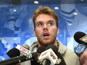 Connor McDavid speaks to the media as the Oilers clean out their lockers at Rogers Place in Edmonton, April 7, 2019.