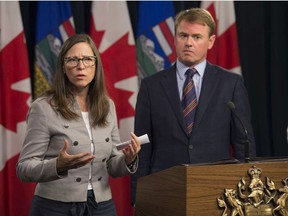 Anne Summach is with the Nurse Practitioner Association of Alberta standing with the health minister. Alberta Health Minister Tyler Shandro announced that the Alberta Government will recruit 30 new nurse practitioners on for rural communities Sept. 17, 2019.