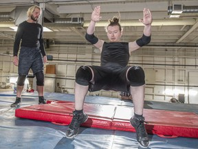 Alberta wrestler Michael Richard Blais held a training seminar for wrestlers in training on Sunday September 15, 2019. Connor Banks was earning how to bump or fall properly and safely.