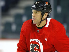 Calgary Flames Milan Lucic during practice at the Scotiabank Saddledome in Calgary on Wednesday, September 25, 2019.