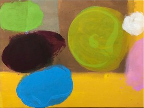 Phil Darrah's Palette Interior, acrylic on canvas, is at Peter Robertson Gallery.