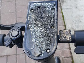 Bird Canada says roughly 50 of their e-scooters in Edmonton have been burned by arsonists. The damage is primarily contained to the centre console. (Supplied photo/Bird Canada)