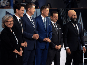 Federal party leaders Green Party leader Elizabeth May, Liberal leader Justin Trudeau, Conservative leader Andrew Scheer, People's Party of Canada leader Maxime Bernier, Bloc Quebecois leader Yves-Francois Blanchet and NDP leader Jagmeet Singh before the Federal leaders debate in Gatineau, Quebec, Oct. 7, 2019.