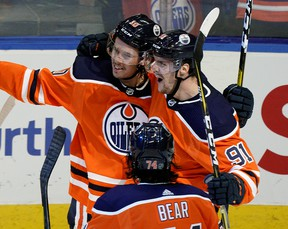 Edmonton Oilers Joakim Nygard celebrates his goal with team mates Gaetan Haas (right) and Ethan Bear (front) during third period NHL game action against the Los Angeles Kings in Edmonton on Saturday October 5, 2019. (PHOTO BY LARRY WONG/POSTMEDIA)