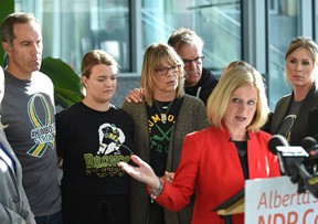 NDP Leader Rachel Notley joined several families who lost loved ones in the 2018 Humboldt bus tragedy, to call on the UCP government to cancel plans to exempt truck and bus drivers from critical new safety standards, in Edmonton, October 16, 2019.