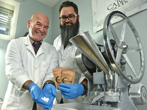 Next to the tablet press, Change Toothpaste Founders Mike Medicoff (L) and Damien Vince are launching a zero-waste, all natural alternative to traditional toothpaste in Edmonton, November 28, 2019.