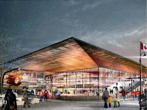 Artist renderings shown during a presentation to the city of Calgary on arena/event centre district.