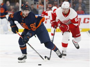 Detroit Red Wings forward Jacob de la Rose (61) chases Edmonton Oilers forward Tomas Jurco (92) up the ice during the third period at Rogers Place.