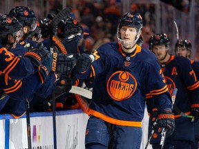 EDMONTON, AB - DECEMBER 06: Alex Chiasson #39 of the Edmonton Oilers celebrates a goal against the Los Angeles Kings at Rogers Place on December 6, 2019 in Edmonton, Canada.