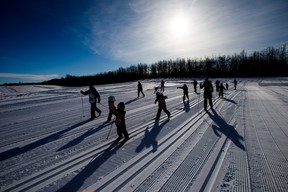Participants compete in a short race during the Canadian Birkebeiner cross country ski race beginning at the Ukrainian Cultural Heritage Village on Saturday, Feb. 10, 2018. (Codie McLachlan/Postmedia)