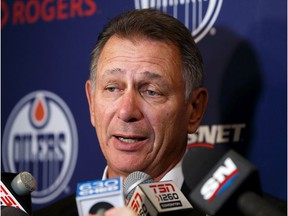 Ken Holland, General Manager and President of Hockey Operations, speaks during a press conference during Edmonton Oilers Training Camp at Rogers Place in Edmonton, on Wednesday, Sept. 18, 2019.
