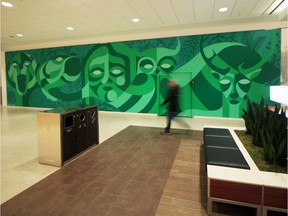 Steven Teeuwsen's mural Boreal Bridge on the second floor of Kingsway Mall by Sunrise Records.