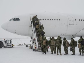 About 150 troops from across Western Canada  leave Edmonton to serve in Latvia as part of Operation REASSURANCE on January 8, 2020.