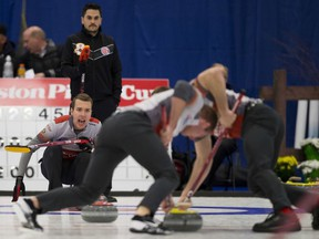 Brendan Bottcher's team is shown competing at the Alberta Boston Pizza Cup in 2017, the last year the event was hosted by Westlock.
