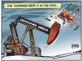 With orphaned wells, the taxpayer gets it in the end. (Cartoon by Malcolm Mayes)