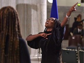 Director Audrey French leading the Light Youth Choir, a 15 member gospel choir between the ages of 15-21, performing during the 4th annual Black History Month celebrations at the Alberta Legislature in Edmonton, February 3, 2020.