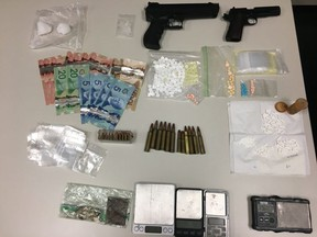Fort Saskatchewan RCMP seized over 46.5 grams of suspected methamphetamine, 122 codeine tablets, 76 xanax tablets, 6.2 grams of psilocybin (mushrooms), digital scales, packaging, Canadian currency, an imitation firearm and a .22 Browning handgun after executing a search warrant at a home in Lamont, Alta.