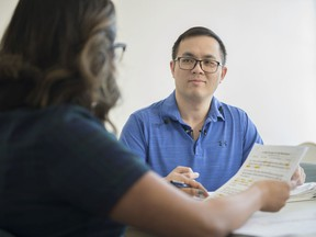 Herman Koo is learning to talk again after he was shot in the head in a random act of violence in March 2018. He is working with Nicole Salvador, a second-year speech language pathologist at the University of Alberta on Tuesday, Feb. 18, 2020.