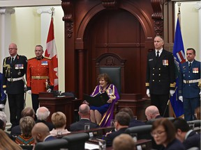 Lt.-Gov. Lois Mitchell reads the speech from the Throne opening the 30th Legislature second session spring sitting at the Alberta Legislature in Edmonton, February 25, 2020.